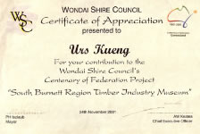 Wondai Shire Council Certificate of Appreciation
